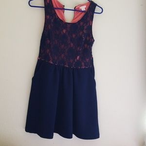 Xhilaration dress size medium top is pink with blu